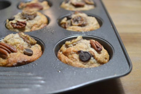 Vegan Gluten Free Banana Pecan Chocolate Chip Muffins
